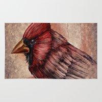cardinal Area & Throw Rugs featuring Cardinal by Werk of Art