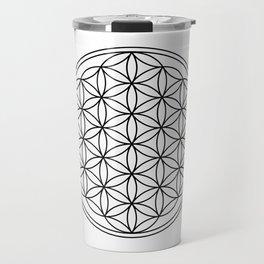 Flower of life in black, sacred geometry Travel Mug