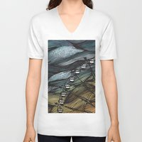 ferris wheel V-neck T-shirts featuring Ferris Wheel by Juliana Caju