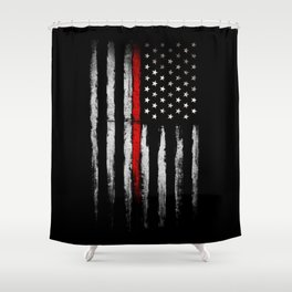 USA red line flag Shower Curtain