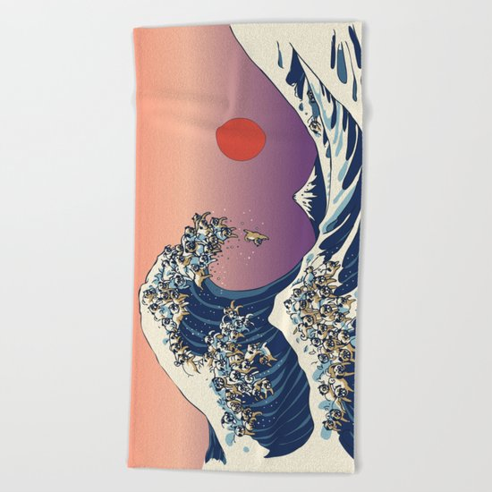 The Great Wave of Pug Beach Towel