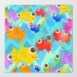 Undewater Fish Cartoon Canvas Print