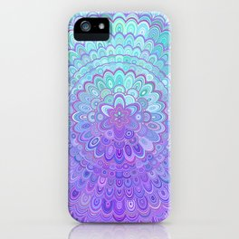 Mandala Flower in Light Blue and Purple iPhone Case