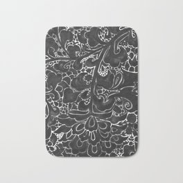 Watercolor Chinoiserie Block Floral Print in Black Ink Porcelain Tiles Bath Mat