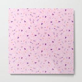 Bubblegum Pink Terrazzo - Abstract Geometric Marble Granite Texture - Millennial Pink Metal Print
