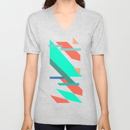 Neon Grapefruit and Electric Mint Shapes Unisex V-Neck