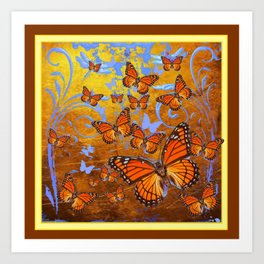 Caramel Color Monarch Butterflies Butterflies  Fantasy Abstract Art Print
