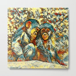 AnimalArt_Chimpanzee_20170601_byJAMColorsSpecial Metal Print