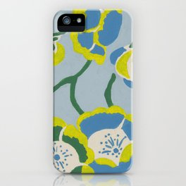 Japanese Flowers On Light Blue Background iPhone Case