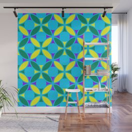 Geometric Floral Circles Vibrant Color Challenge In Bold Purple Yellow Green & Turquoise Blue Wall Mural