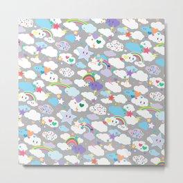 Clouds and Rainbows Kawaii Pattern Metal Print