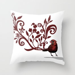 Swirly Bird Throw Pillow