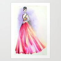 Pink Gown Art Print