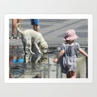 toddler Art Prints featuring White Dog and Toddler by Dan Jordache