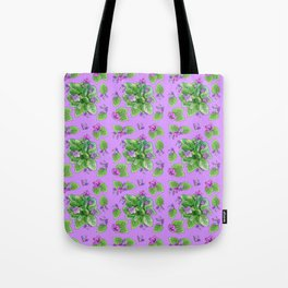 Seamless pattern house plant violet Tote Bag
