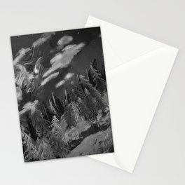 Winter mountain cabin Stationery Cards