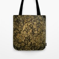 damask Tote Bags featuring Decorative damask by nicky2342