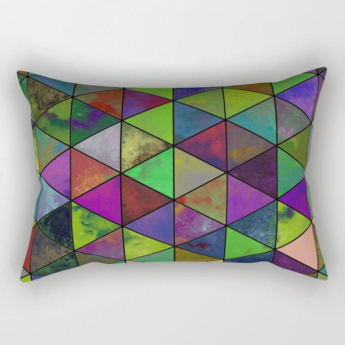 Textured Triangulation - Abstract, geometric triangles Rectangular Pillow