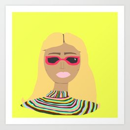 Lime Green Woman with Rainbow Sweater and Pink Sunglasses Art Print