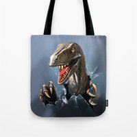 dinosaur Tote Bags featuring dinosaur by Antracit