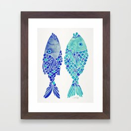 Indonesian Fish Duo – Navy & Turquoise Palette Framed Art Print