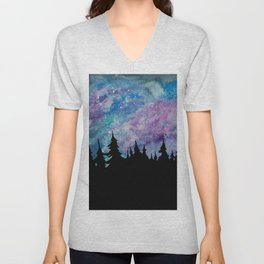 Galaxies and Trees Unisex V-Neck