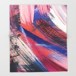 Los Angeles: A vibrant, abstract piece in reds and blues by Alyssa Hamilton Art Throw Blanket