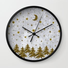 Sparkly Christmas tree, stars, moons on abstract paper Wall Clock