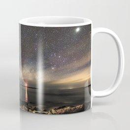 Milky way and the Twin lights Coffee Mug