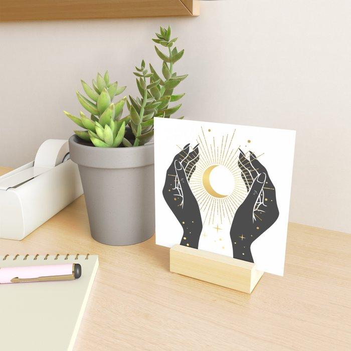 Gold La Lune In Hands Mini Art Print