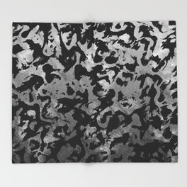 Abstract Magic - Silver Black Throw Blanket