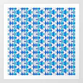 Sky Blue and Bright Cyan Indian Arrowhead Abstract on Bright Clean White Southwestern Design Pattern Art Print