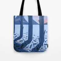 sasquatch Tote Bags featuring Search for Sasquatch by Robert John Paterson