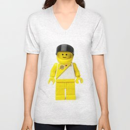 Yellow astronaut Minifig with his visor up Unisex V-Neck