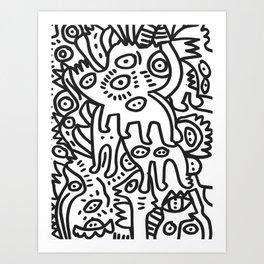 Graffiti Art  Black and White Cyclopes  Art Print