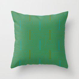 Doors & corners op art pattern in olive green and aqua blue Throw Pillow