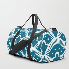 Fan Pattern Peacock Blue 344 Duffle Bag