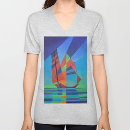 Cubist Abstract Junk Boat Against Deep Blue Sky Unisex V-Neck