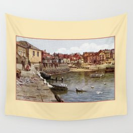 Aquarelle St Ives Cornwall Seagulls in the harbour Wall Tapestry