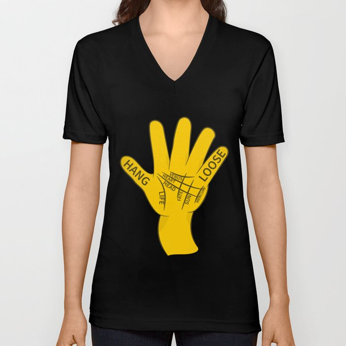Palmistry Hang Loose Shaka Sign Unisex V-Neck