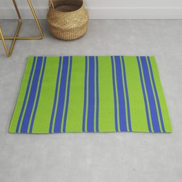Blue lines on a green background Rug