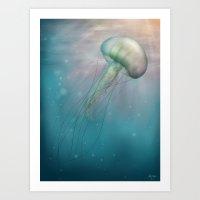 Iridescent Jellyfish Art Print