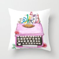 typewriter Throw Pillows featuring typeWriter  by Watercolor_2011