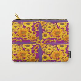 Puce-Purple  Color Golden Sunflowers Pattern Art Carry-All Pouch