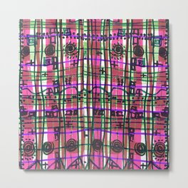Bizarre Spacy Plaid Fuchsia Metal Print