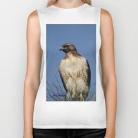snatch Biker Tanks featuring Red-Tailed Hawk on Watch at Foothill and B Street by Ralph S. Carlson