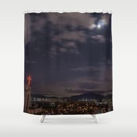 seoul Shower Curtains featuring Seoul Moonlight by Clayton Jones