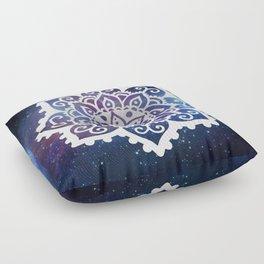White Mandala on Galaxy Floor Pillow