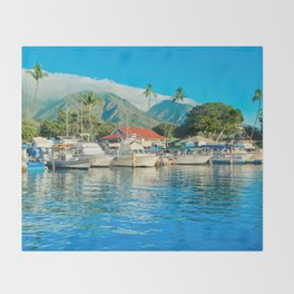Lāhainā Marina Sunset Maui Hawaii Throw Blanket