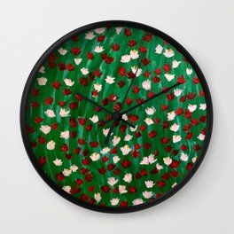 Red and White Flowers on Green Grass Wall Clock